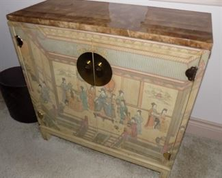 vintage Drexel painted Asian cabinet with marble top