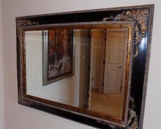 black/gold gilt beveled large wall mirror
