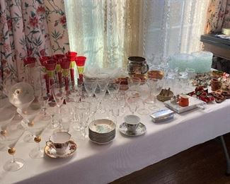 TABLES ARE FULL OF COLLECTABLE GLASS