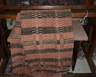 ANTIQUE COVERLET WITH DAMAGE