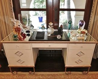 Art Deco-Style Mirrored-Top Vanity with a Fine Collection of Glass, including Huge Lalique Perfume Bottle, Mid-Century Glass, Perfume Bottles, etc.