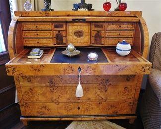 Fabulous mid-19th. C. Burled and Par Ebonized Biedermeier Cylinder Desk