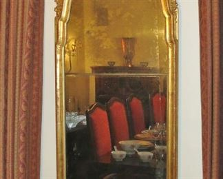 18th. C. Gilt Pier Mirror.  Upper section, original glass; lower section, old.