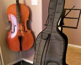 Handmade Cello with padded case. Music stand also for sale.