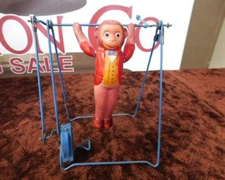 Wind-up Celluloid Monkey on Trapeze(Working)