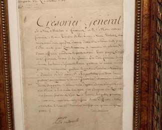 Signed letter from Marie Antoinette