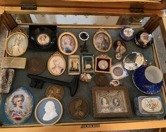 Misc collectables...Hand Painted Oval Miniatures, World's Fair Trinket Cases, World's Fair Compact Cases, Enamel Limoge Box, and Wedgewood