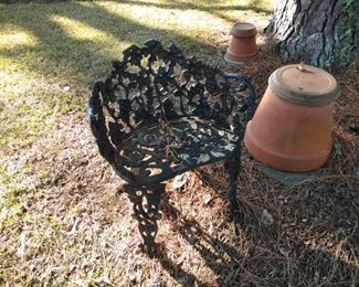 heavy cast metal lawn furniture chair
