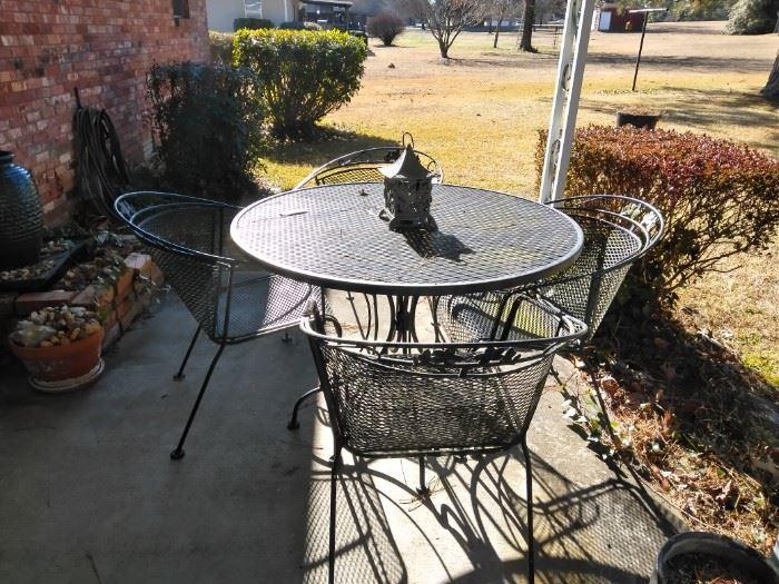 Five piece metal patio set