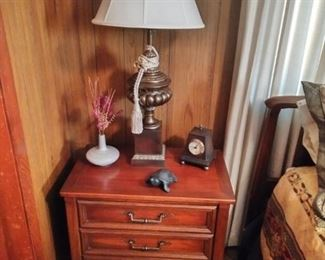 bed side table, vintage brass lamp