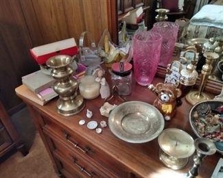 brass candle sticks and ceramics