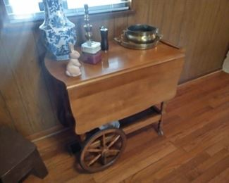 Drop leaf wood cart hostess table