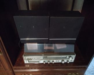 8 track stereo with tapes and speakers