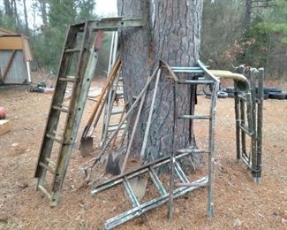 Deer Stands, Ladders, shovels and rakes
