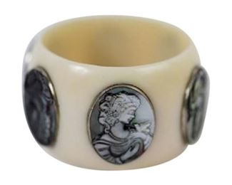 7. HandCarved Abalone Cameo Cuff Bangle