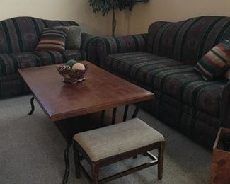 Couch, loveseat, coffee table and two 1940s small ottoman foot rests