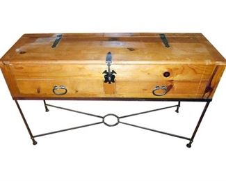 1. Wooden Chest Table with Drawers