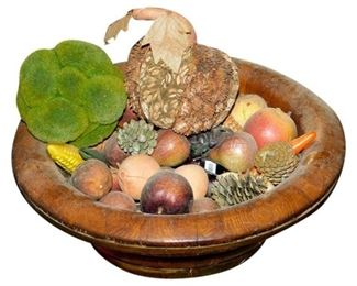 11. Wooden Bowl of Artificial Fruit