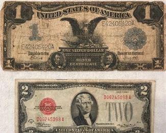 1928 Series D 2 dollar bill and 1899 Silver Certificate 1 dollar bill
