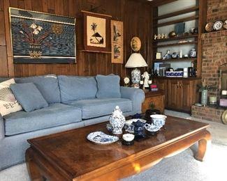 Sofa sleeper/burl walnut coffee table with matching side table