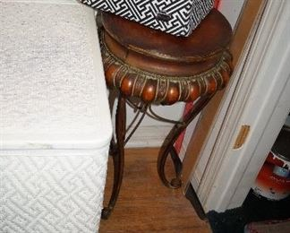 wicker hamper, stool,