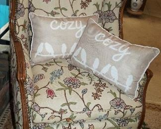 occasional chair, pillows