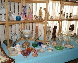 hostess sets, Cake Plates, Fostoria, figurines, Lefton figurines,
