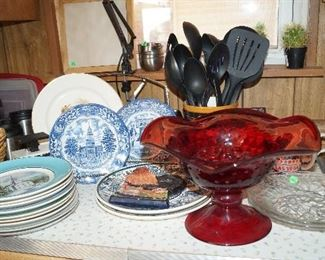 glass bowl, plates, decor