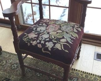 Antique embroidered corner chair
