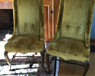 Velvet parlor chairs