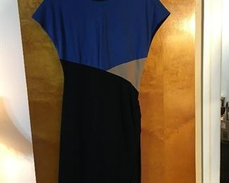 Designer dress blue, black and grey with a subtle  gather at left waist. MINT.