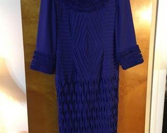 Mediterranean blue ruffle optics dress. Feels like crepe. Mint.