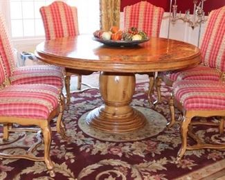 Beautiful Painted Round Table and Six Upholstered chairs, like new.
