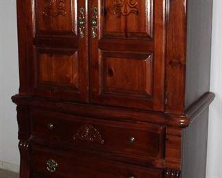 """Pine 2-Door/3-Drawer Armoire (40""""W x 21""""D x 65""""H) c.1980's"""
