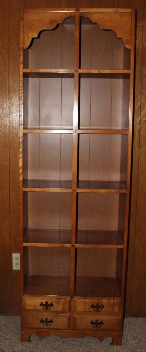 "Vintage 1970's Maple 4 Shelf Bookcase with Lower Drawer (76""H x 24""W x 10""D)"