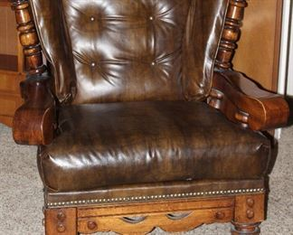 Vintage 1970's Solid Wood Colonial Easy Chair with Brown Naugahyde Upholstery