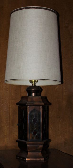 Vintage 1970's Lantern Style Copper and Stain Glass Table Lamps