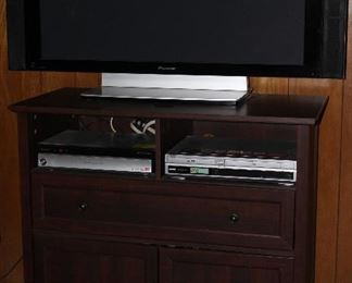 "Init TV Console Cabinet shown with Pioneer 43"" Plasma Flat Screen TV with Side Speakers, Pioneer Pure Vision Plasma Display System & Sony DVD and VHS Player"