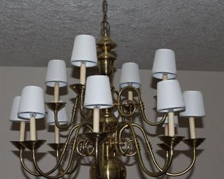 Large 12 Arm Brass Chandelier