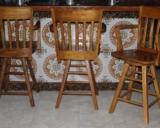 Solid Wood Arm Chair Bar Stools (4 each- 1 not shown)
