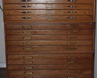 "Mayline Company Inc. 15 Drawer Oak Drafting/ Map/Blueprint Cabinet (41""W x 28""D x 46 1/2H)"