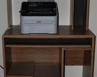 "Laminated Oak Grain Computer Desk (35 1/2""W x 19 1/2""D) shown with Professional Brother Laser Fax Super G3, Intelifax 2840"