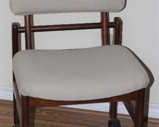 Holland Stitchcraft Ecru Upholstery Cherry Wood Chair with Fold Down Back on Rollers