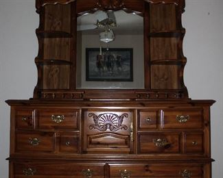 "American Drew Inc. Dresser w/ Mirror with Display Shelves (68""W x 80 ""H x 19""D overall measurements)"