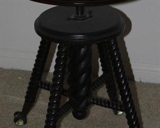 Antique Spool Leg Ball & Claw Feet Organ Stool