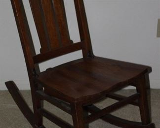 Antique Slat Back Sewing Rocker with Under the Seat Pull-out Drawer