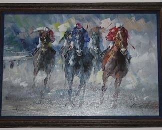 "Original Oil on Canvas ""Horse Race"" Signed by Artist  (40.5"" x 28.5"")"
