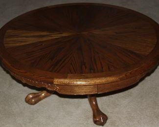 "Golden Oak (38"") Round Clawfoot Pedestal Coffee Table"