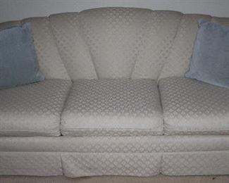 Ecru Overstuffed Upholstered Rolled Fan Back Sleeper Sofa