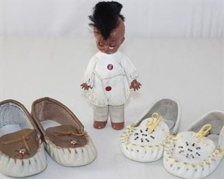 "Vintage Infant Leather Beaded Indian Moccasins Shown with a Vintage Hard Plastic ""Mohawk"" 6"" Indian Doll"